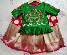 Brocade lehanga with peplum blouse with zardosi work # kids couture # kids designs # kids ethnic wear Baby Girl Dresses, Flower Girl Dresses, Lehanga For Kids, Kids Blouse Designs, Kids Ethnic Wear, Kids Dress Patterns, Zardosi Work, Peplum Blouse, Kids Wear