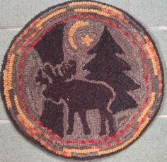 """Rug Hooking Pattern for """"Moonlight Moose"""" Chair Pad, on Monks Cloth or Primitive Linen, P1112 by PrimitivesByCarolRae on Etsy https://www.etsy.com/listing/224442546/rug-hooking-pattern-for-moonlight-moose"""