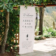 So excited to finally share this wedding with you! I printed this welcome sign on frayed linen, hung from a driftwood branch, with hemp cording dangling a series of feathers off to the side @theedgeswed @soeventful @pilarmustafa