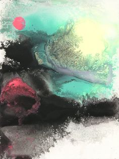 """The Whole Landscape Will Be One Vast Wasteland Artist: Michael Cina  Type: Original work Medium: Acrylic and minerals on Paper Size: 9"""" x 12"""" (inches)"""