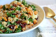 Sweet Potato, Apple, Dried Cherry/Cranberry and Kale Quinoa Salad...all my favorite things in one bowl!   {Green Plate Rule}