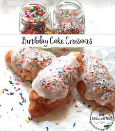Birthday Cake Croissants. Rainbow Sprinkle Vanilla Cream and Buttery, Flaky Pastry all topped with a Sweet Sprinkle Glaze!