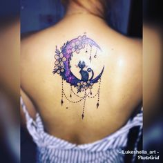 Galaxy moon cat tattoo 🌙🐈🌌💜💙 - Karolin Toxic - Space Everything Body Art Tattoos, Moon Tattoo, Moon Tattoo Designs, Tattoos For Women, Bestie Tattoo, Cat Tattoo Designs, Galaxy Tattoo, Beautiful Tattoos, Tattoo Designs For Women
