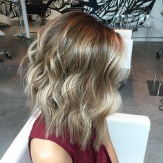 long+layered+brown+blonde+balayage+bob