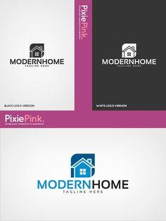 Modern Home Logo Template Illustrator Cs, Home Logo, Creative Logo, Logo Templates, Logo Design, Company Logo, Logos, Modern, Trendy Tree