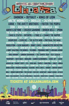 #ArcticMonkeys, #Eminen y #KingsofLeon encabezan el #Lollapalooza2014 en #Chicago <3 <3 <3