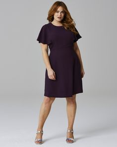An alternative to the little black dress. Gorgeous Mulberry Crepe Frill Dress From SimplyBe $59.99 (Affiliate)