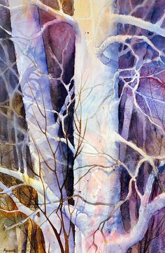 Shadowplay by Teresa Ascone - Shadowplay Painting - Shadowplay Fine Art Prints and Posters for Sale Watercolor Negative Painting, Watercolor Trees, Watercolor Landscape, Watercolour Tutorials, Watercolor Techniques, Painting Techniques, Image Clipart, Art Clipart, Space Painting