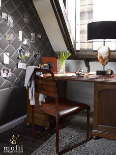 Interior design project : Riverside Apartment in Mortlake, London. Riverside Apartment, London Property, West London, Casual Elegance, Beams, Corner Desk, Tapestry, Interior Design, Study