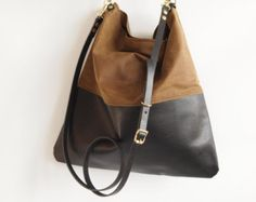 Black Leather and Black Canvas Tote Bag HARRIS by byHOLM on Etsy