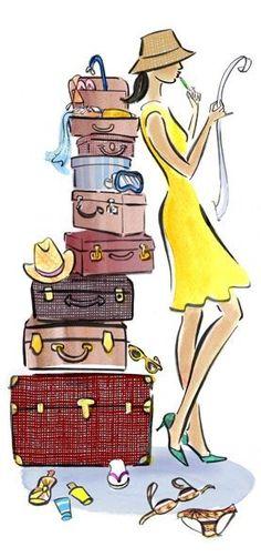 jolie femme vacances été bagages valises illustration