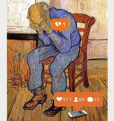 Sorrowing Old Man AKA At the Eternity's Gate is a painting by Dutch artist Vincent van Gogh. It represents an old man sorrowing with depressed feelings. Vincent Van Gogh, Programme D'art, Best Memes, Funny Memes, Satirical Illustrations, Les Sentiments, Dutch Artists, Salvador Dali, Conceptual Art