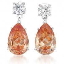 Vixity Collections C.Z. Sterling Silver Rhodium Plated Large Champagne Pear Shape Drop Earrings