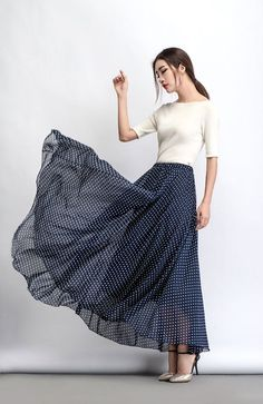 Polka Dot Chiffon Skirt - Maxi Long Floaty Long Sheer Spotty Summer Skirt Handmade Made-to-Measure Womens Clothing (C475)