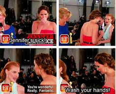 Jennifer meeting Jessica Chastain..i find it sweet that Jessica try to catch her attention because Jennifer didnt noticed her and funny that Jennifer told her to wash her hands ahaha...i hope Jessica get what she meant since she didnt know that she is sick aahaha