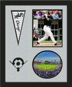 Two framed 8 x 10 inch Chicago White Sox photos of U.S. Cellular Field (including one VERTICAL photo at the top and one HORIZONTAL photo framed in an oval) with a Chicago White Sox mini pennant, double matted in team colors to 16 x 20 inches.  Includes a baseball diamond which is cut into the top mat and shows the bottom mat color.  The oval photo will be cropped to fit.  (Pennant design subject to change)  $89.99 @ ArtandMore.com