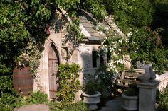 Insomniac's Attic: Gothic Garden Decor on a Beer Budget Fresco, Cast Iron Garden Furniture, Garden Structures, Outdoor Structures, Gothic Garden, She Sheds, Potting Sheds, Shed Plans, Dream Garden