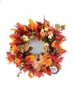 Fall Wreath Autumn Wreath Thanksgiving by SouthernCharmWreaths