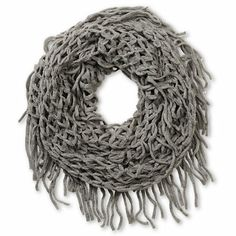 Set off your high fashion look with the D&Y Net Fringe infinity scarf for girls. Coming in a Grey colorway, this figure 8 scarf from David & Young is made with an open knit construction and fringe detailing at the edges, making it perfect for layering or adding texture to just about any outfit.