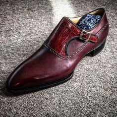 Men's+Handmade+Burgundy+Alligator+Leather+Monk+Strap+Shoes,+Men+Dress+Buckle+Formal+Shoes Description+ Condition+New+With+Box+ Style+Monk+Strap Shoes+Upper+Material+Alligator+Leather+ Handmade+Dress+Shoes+ Stylish+Shoes+ Interior+Soft+Leather+Lining+ Sole Women's Shoes, Prom Shoes, Loafer Shoes, Me Too Shoes, Shoe Boots, Dress Shoes, Shoes Men, Shoes Style, Gentleman Shoes