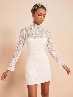 Top 10 Short Wedding Dresses | Bridal Musings Wedding Blog  Less is more especially these short wedding dresses!  #bridalmusings #bmloves #wedding #dress #bridalgown #weddingdress bride #ido #skirt #white #ruffle #lace Gala Dresses, Satin Dresses, Bridal Dresses, Daisy Dress, Lace Dress, Short Frocks, Cute Casual Dresses, Bridal Musings, Chic Dress