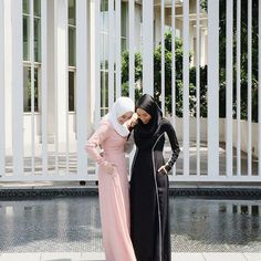 Never a dull moment when and together! Vivy is wearing Nayla in Nude Pink & Asma is in Alanna Black & White The Dress, High Neck Dress, Hijab Chic, Muslim Women, Beautiful Dresses, Product Launch, In This Moment, Niqab, Black And White