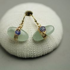Aquamarine Pebble Earrings with Tanzanite by fussjewelry