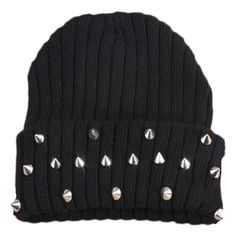 Blackfive Spikes Studded Turn Up Brim Knitted Beanie (250 MXN) ❤ liked on Polyvore featuring accessories, hats, beanie, beanie hats, black hat, black brim hat, brimmed hat and spiked beanie hat