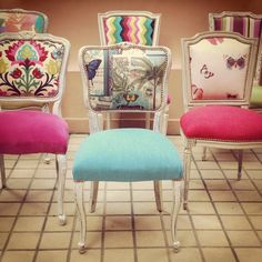 Sillas Upcycled Furniture, Home Decor Furniture, Furniture Projects, Cool Furniture, Painted Furniture, Chair Redo, Chair Makeover, Furniture Makeover, Chair Upholstery