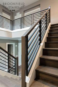 Brookfield Stairs Indoor Stair Railing, Interior Stair Railing, Modern Stair Railing, Stair Railing Design, Home Stairs Design, House Gate Design, Staircase Railings, Modern Stairs, Staircase Makeover
