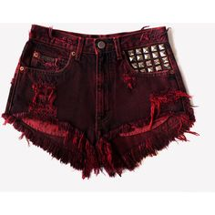 Scarlett Vintage Frayed Studded Shorts ❤ liked on Polyvore featuring shorts, bottoms, short, pants, destroyed jean shorts, frayed denim shorts, cut off jean shorts, jean shorts and destroyed denim shorts