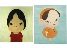 Yoshimoto Nara. The drawing on the left reminds me of Jack White.