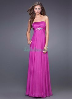 A-lijn Strapless hals Vloer Lengte Rhinestones Chiffon Prom jurken