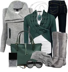 Winter Outfits Pine Green Wrap Cardigan Sweater