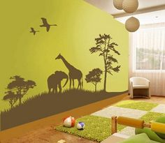 Beautiful Wild Animals Jungle Forest Cartoon for Removable Kids Bedroom Wall Stickers Decals