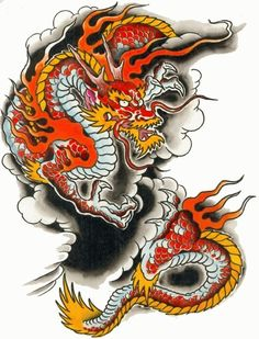 Cross Tattoos For Guys – Originals Hard Dragon Tattoo Outline, Red Dragon Tattoo, Small Dragon Tattoos, Japanese Dragon Tattoos, Dragon Tattoo Designs, Dragon Art, Dragon Images, Dragon Pictures, Hard Tattoos