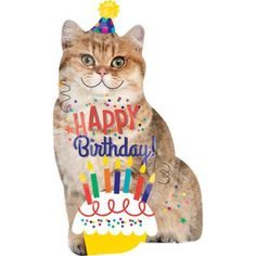 The Giant Cat Birthday Balloon is shaped like a cat wearing a party hat. This colorful foil balloon is an awesome addition to your cat-themed birthday party. Happy Birthday Foil Balloons, Happy Birthday Images, Happy Birthday Wishes, Birthday Greetings, Birthday Msgs, Birthday Party Themes, Birthday Cards, Birthday Messages, 3rd Birthday