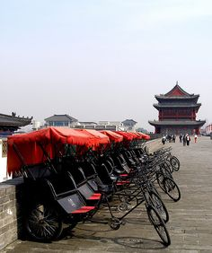 Trishaws at Ming Wall . Xi'an, China | In #China? Try www.importedFun.com for award winning #kid's #science |