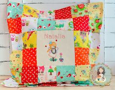 Personalized unique pillow  patchwork hand by MainileMamei on Etsy