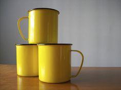 yellow enamel mugs