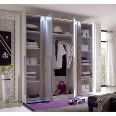 Armoire àÂ portes battantes Match 4 - Blanc / Imitation chêne de San Remo