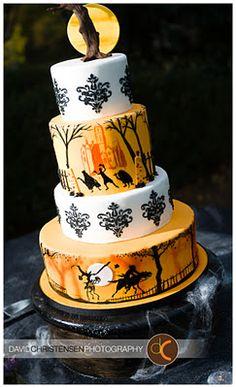 Halloween wedding cake. Hitchhiking ghosts, damask, and the headless horseman. Love! Atlanta Baker Sweet Sensations. http://www.sweet-sensations.com/