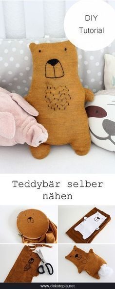 DIY-Anleitung: N& einen Teddy aus einem alten Pullover (Upcycling)DIY Instructions: Sewing Teddy from an old sweater (upcycling) - Chunmee Tobin - - DIY Anleitung: Teddy aus altem Pulli nähen (Upcycling) DIY tutorial with template: close up a teddy Upcycled Crafts, Sewing Toys, Sewing Crafts, Pullover Upcycling, Diy Teddy Bear, Alter Pullover, Diy Pullover, Tutorial Diy, Diy Bebe