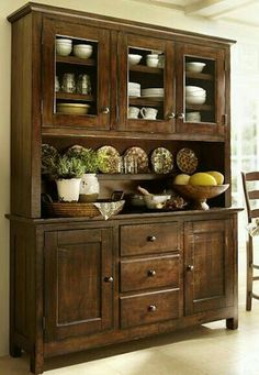 Something similar to this for the formal dining area: Benchwright Buffet & Hutch Buffet Hutch, Dining Room Hutch, Dining Room Design, Kitchen Dining, Kitchen Decor, Kitchen Hutch, Pottery Barn Kitchen, Dining Buffet, Dining Area