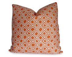 Orange and Ivory Trellis Decorative Pillow by StitchedNestings, $45.00