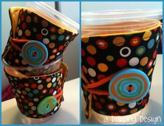 """Dot coffee cozies. 2 available. For Sale $4.50 each    http://sewingthelostart.blogspot.com/2012/07/more-cozies.html    please do not remove """"a darling design"""" or repost as your own"""