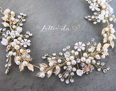 Cheveux d'or Boho Halo couronne de mariée perle par LottieDaDesigns