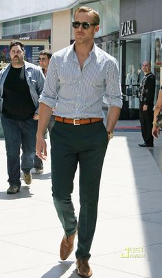 What guy doesn't want to dress like Ryan Gosling? We can get this exact same look with a custom shirt that's made just for you as well as this belt and trousers with J. Hilburn for half the price of this designer outfit using the same luxurious fabrics from Italy! Visit http://juliehuff.jhilburn.com/