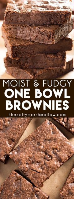 One Bowl Brownies – These brownies are super fudgy, moist, and chewy! Pretty much the only brownie recipe you will ever need, these are made with no fuss in one bowl! Okie. Dokie. Sorry for saying okie dokie. The search for that ultimate, easy, brownie is over folks!