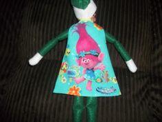 Christmas Elf doll dress blue with Trolls on it by on Etsy Christmas Elf Doll, Troll, Blue Dresses, Etsy